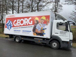 Fahrzeugbeschriftung: LKW für Georg Großhandel
