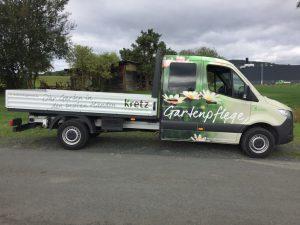Fahrzeugbeschriftung: Sprinter für Kretz Gartenpflege
